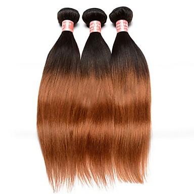Maláj haj Egyenes Ombre Emberi haj sző Fekete / Medium Auburn Human Hair Extensions