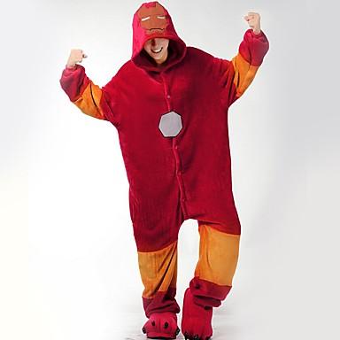 Adults' Kigurumi Pajamas with Slippers Cartoon / Super Heroes Onesie Pajamas Costume Flannel Fabric Red Cosplay For Animal Sleepwear Cartoon Halloween Festival / Holiday / Christmas