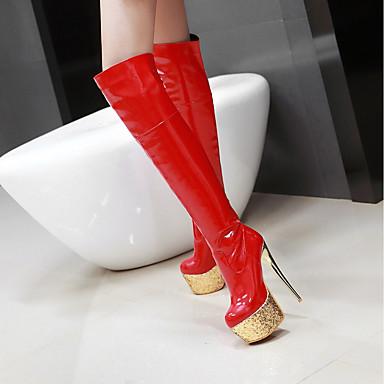Bottes Bottes Rouge Similicuir à Noir Hiver Talon 06198935 Chaussures Mode Mariage Printemps Aiguille Femme Blanc Bottes la 6UPFqW