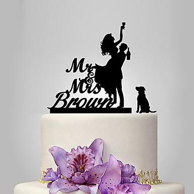 Cake Topper Classic Theme / Romance / Wedding Classic Couple Plastic Wedding with 1 pcs Poly Bag