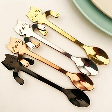 1Pcs Stainless Steel Cat Coffee Drink Spoon Tableware Kitchen Supplies Hanging Cups
