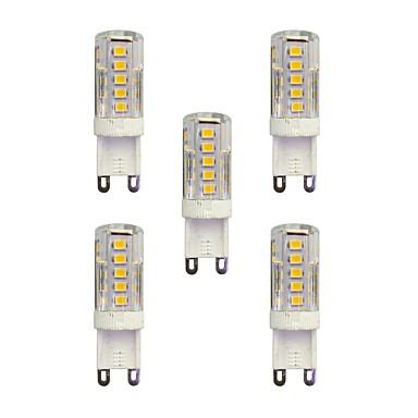 5pcs 2,5 W 210 lm G9 LED betűzős izzók T 33 led SMD 2835 Meleg fehér Fehér AC 220-240V