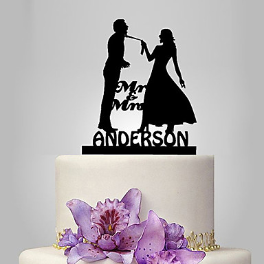Cake Topper Classic Theme / Wedding Classic Couple Plastic Wedding with 1 pcs Poly Bag
