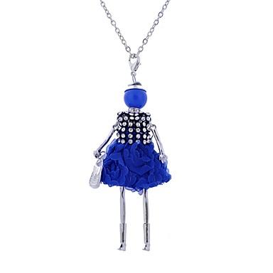 levne Dámské šperky-Dámské Prohlášení Náhrdelníky Dlouhé Princezna dámy Cikánské Cikánský Krajka Slitina Černá Tmavomodrá Červená Náhrdelníky Šperky Pro Párty Ležérní
