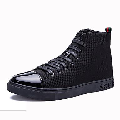 Férfi cipő PU Tavasz Ősz Kényelmes Tornacipők Fűző mert Hétköznapi Fekete