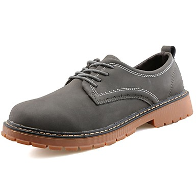 Men's Leather Spring / Fall Comfort Oxfords Black / Gray / Brown