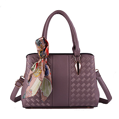 Women's Bags PU Tote Zipper Gray / Purple / Khaki