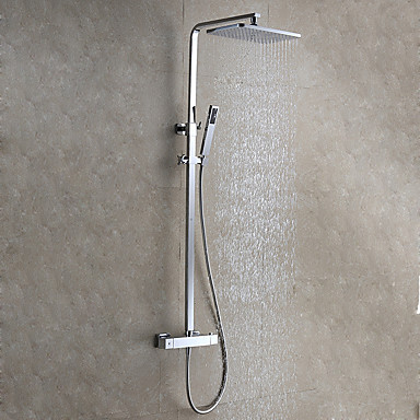Shower Faucet - Contemporary / Modern Style Chrome Wall Mounted Ceramic Valve / Brass