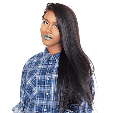 Remy haj Csipke eleje Paróka Indiai haj Egyenes 180% Sűrűség 100% kézi csomózású Hosszú Női Emberi hajból készült parókák
