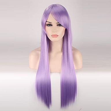 Szintetikus parókák Egyenes Sűrűség Sapka nélküli Női Bíbor Jelmez paróka Hosszú Szintetikus haj