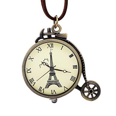 baratos Relógios Homem-Homens Mulheres Relógio de Bolso Mecânico - de dar corda manualmente Couro Marrom Gravação Oca Mostrador Grande Analógico Vintage Torre Eiffel - Bronze