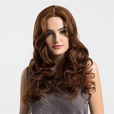 Szintetikus parókák Hullámos Sűrűség Sapka nélküli Női Barna Természetes paróka Hosszú Szintetikus haj