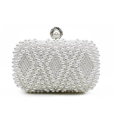 Női Táskák Selyem Estélyi táska Gyöngydíszítés Fehér / Fekete / Tejesfehér / Esküvői táskák / Esküvői táskák