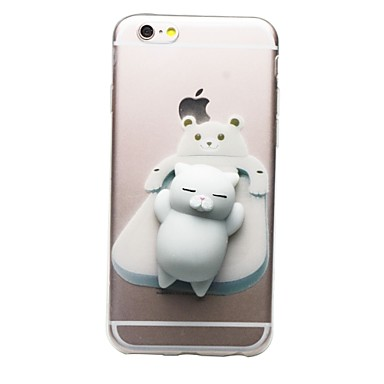 Case Kompatibilitás Apple iPhone 7 Plus iPhone 7 Átlátszó Minta pépes DIY Fekete tok Cica 3D figura Puha TPU mert iPhone 7 Plus iPhone 7