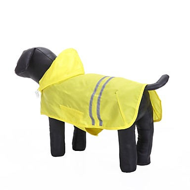 Cat Dog Hoodie Rain Coat Dog Clothes Solid Colored Yellow Fuchsia Blue Oxford cloth Waterproof Material Terylene Costume For Pets