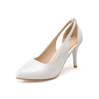 Women's Shoes PU(Polyurethane) Spring / Fall Comfort / Novelty Heels Stiletto Heel Pointed Toe White / Silver / Pink / Dress