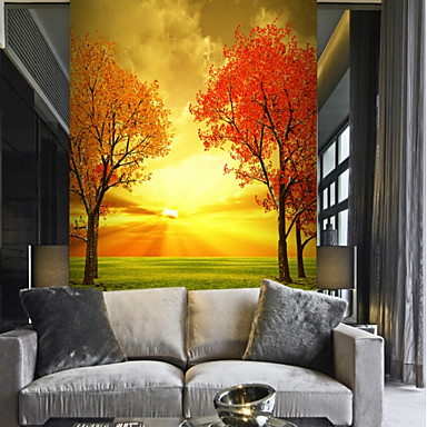 Tree Nature & Landscapes Leaf Home Decoration Pastoral Style Modern Wall Covering, Canvas Material Adhesive required Mural, Room