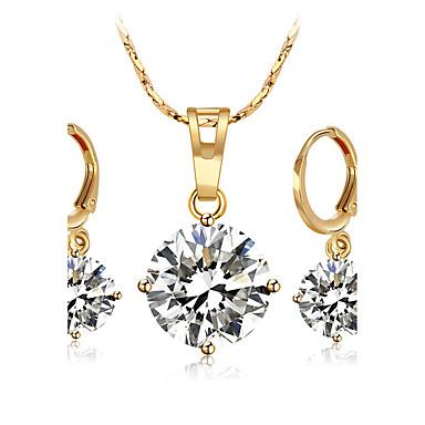 Női Kocka cirkónia Hercegnő Ékszer szett Naušnice / Nyakláncok - Csing Csing / Divat Circle Shape Arany / Ezüst Nyaklánc Kompatibilitás