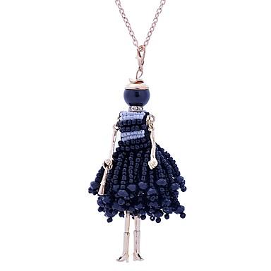 levne Dámské šperky-Dámské Prohlášení Náhrdelníky Dlouhé Princezna dámy Cute Style Krajka Slitina Bílá Černá Náhrdelníky Šperky Pro Narozeniny Zásnuby