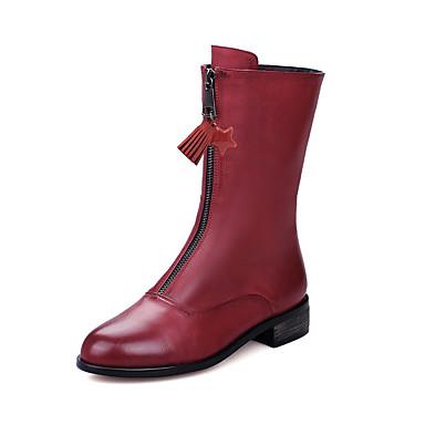 Mujer Zapatos Semicuero Invierno Botas de Moda Botas Tacón Cuadrado Dedo redondo Mitad de Gemelo Blanco / Negro 0Fs8nxc