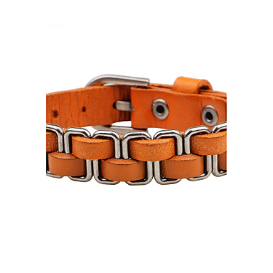 Men's / Women's Chain Bracelet / Leather Bracelet - Leather Personalized, Rock Bracelet Orange / Brown / Red For Stage / Street