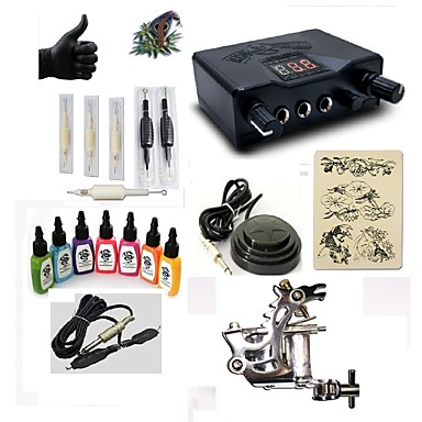 BaseKey Tattoo Machine Starter Kit - 1 pcs Tattoo Machines with 7 x 15 ml tattoo inks, Professional LED power supply Case Included 1 steel machine liner & shader