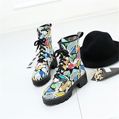 rond Bottes Similicuir Bottine Bout Blanc Hiver 06222200 Noir Chaussures Bottier à Lacet Botte Demi Talon Nouveauté la Mode Bottes Femme Bq7xwS5R