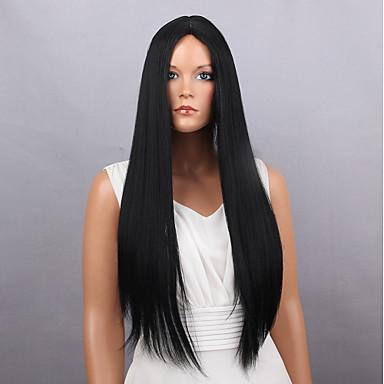Szintetikus parókák Egyenes Sűrűség Sapka nélküli Női Fekete Természetes paróka Hosszú Nagyon hosszú Szintetikus haj