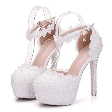 Női Cipő PU Tavasz / Ősz Kényelmes / Újdonság Esküvői cipők Erősített lábujj Kristály / Gyöngy / Rátétek Fehér / Party és Estélyi