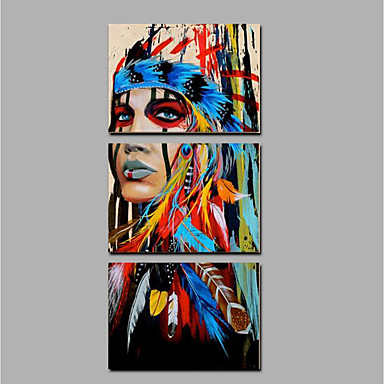 Oil Painting Hand Painted - People Ethnic & Interracial Canvas / Rolled Canvas