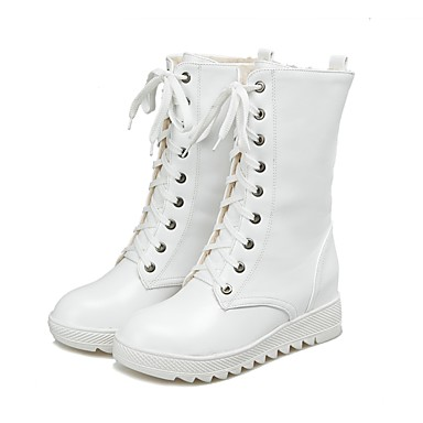 Women's Shoes Leatherette Fall / Winter Snow Boots / Riding Boots Boots Flat Heel Round Toe Mid-Calf Boots Lace-up White / Black