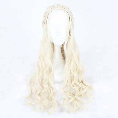 Synthetic Wig / Cosplay & Costume Wigs Wavy Blonde Synthetic Hair Blonde Wig Women's Long Capless