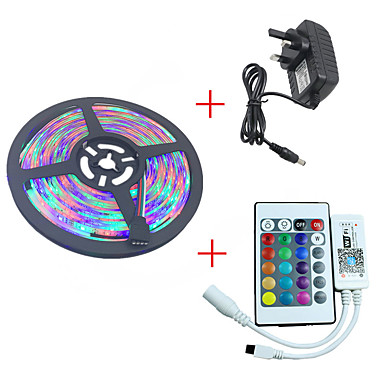 HKV 5m Light Sets 300 LEDs 3528 SMD RGB Waterproof / Cuttable / Dimmable 12 V 1pc / IP65 / Linkable / Self-adhesive / Color-Changing