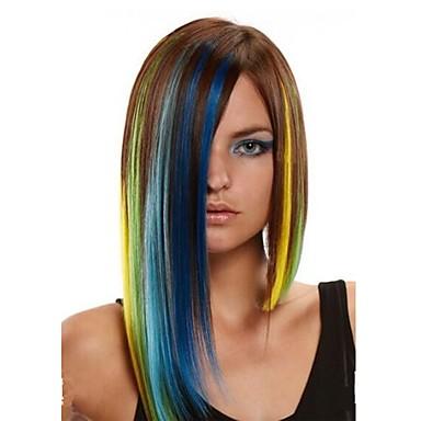Szintetikus parókák Egyenes Aszimmetrikus frizura Szintetikus haj Balayage haj Kék Paróka Női Közepes Sapka nélküli Szivárvány