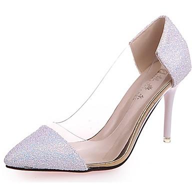 Women's Paillette Fall Comfort Heels Stiletto Heel Pointed Toe Split Joint Black / Purple / Pink / 3-4