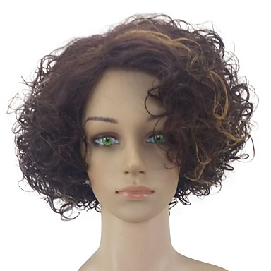 Synthetic Wig Curly Synthetic Hair Highlighted / Balayage Hair / Middle Part Brown Wig Women's Medium Length Capless