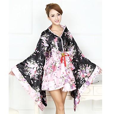 Wa Lolita Dress Vintage Inspired Women's Girls' Japanese Traditional Kimono Cosplay Floral Long Sleeve Asymmetrical Halloween Costumes