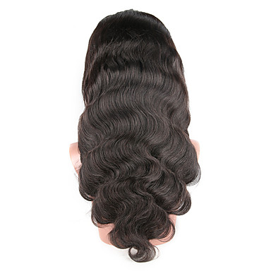 Human Hair Glueless Lace Front / Lace Front Wig Brazilian Hair Body Wave Wig 130% African American Wig / 100% Hand Tied Women's Medium Length Human Hair Lace Wig