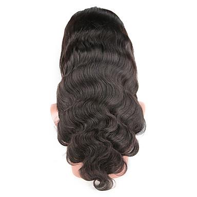 Emberi haj Tüll homlokrész / Csipke eleje Paróka Brazil haj Hullámos haj Paróka 130% Afro-amerikai paróka / 100% kézi csomózású Női Közepes Emberi hajból készült parókák