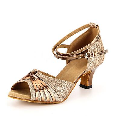Női Latin cipők Flitter / Bőrutánzat Magassarkúk Kubai sarok Személyre szabható Dance Shoes Arany / Gyakorlat