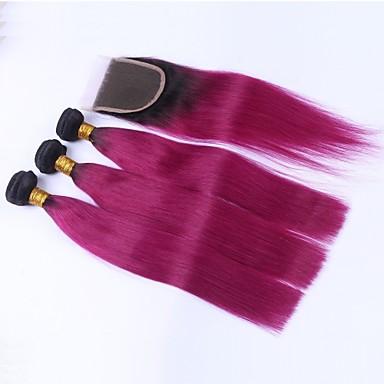 Maláj haj Egyenes Hair Vetülék, zárral Emberi haj sző Fekete / sötét Wine Human Hair Extensions