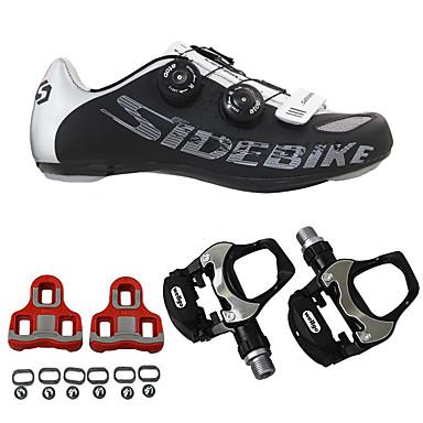 SIDEBIKE Fahrradschuhe mit Pedalen & Pedalplatten Rennradschuhe Erwachsene Anti-Shake Polsterung Atmungsaktiv Anti-Rutsch Rennrad Draussen