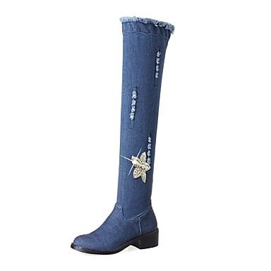de Talon Bleu Bout Fermeture Bottes Bottes Bottier 06241756 Strass Western Femme Automne Hiver Chaussures jean Cowboy Toile rond Bottes de w1gq0FUP