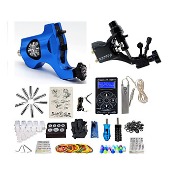 BaseKey Tattoo Machine Starter Kit - 2 pcs Tattoo Machines with tattoo inks, Professional Alloy LCD power supply Case Not Included 20 W 2 rotary machine liner & shader