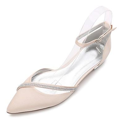 billige Toppsalg-Dame bryllup sko Flat hæl Spisstå / Åpen Tå Rhinsten / Gummi Sateng Komfort / Ballerina / D' Orsay og todelt Vår / Sommer Blå / Lysebrun / Krystall / Ankelrem / Bryllup / Fest / aften / EU40