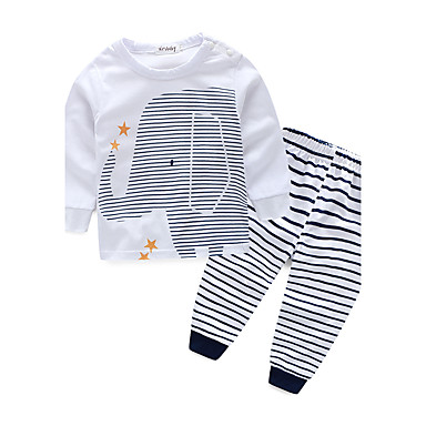 Toddler Boys' Stripes Stripe Long Sleeve Cotton Clothing Set White