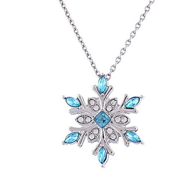 Women's Synthetic Diamond Pendant Necklace - Flower Classic, Fashion Dark Blue Necklace Jewelry For Christmas, Evening Party