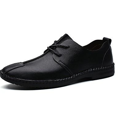 Men's Comfort Shoes Cowhide Fall / Winter Sneakers Black / Brown / Blue