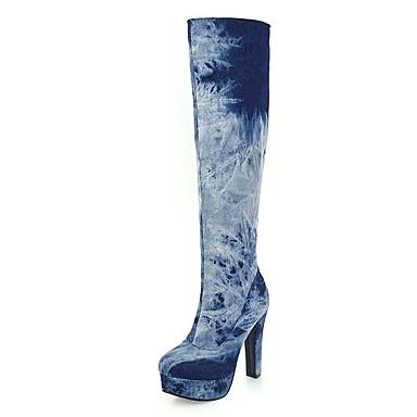 Women's Shoes Denim Fall / Winter Cowboy / Western Boots Boots Chunky Heel / Platform Round Toe Knee High Boots Zipper / Gore Dark Blue / Light Blue