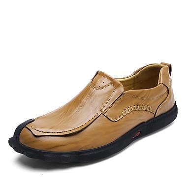 Men's Leatherette / Cowhide Spring / Fall Comfort Loafers & Slip-Ons Black / Brown / Khaki